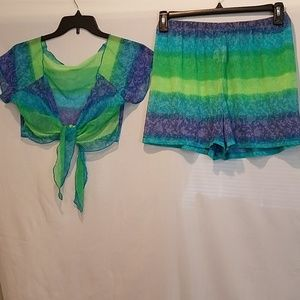 Swimwear cover-up shorts and crop top